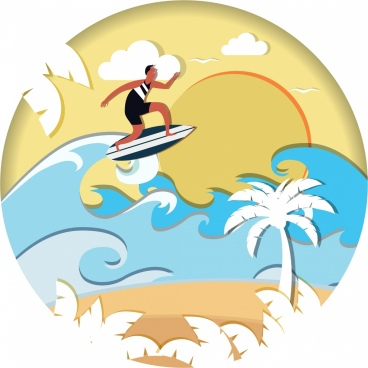 beach activity background colored paper cut design