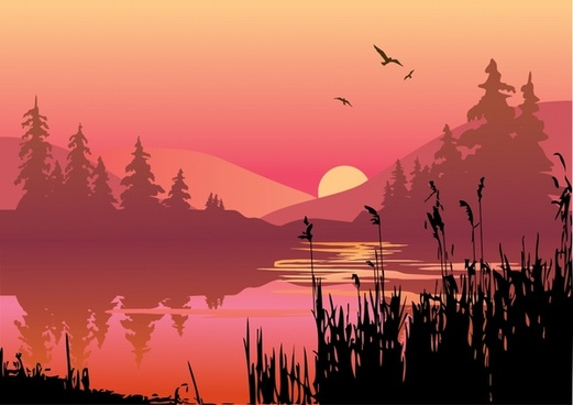 nature sunset scenery painting dark colored decor