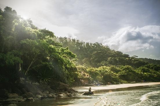 beach beautiful boat forest island jungle lake
