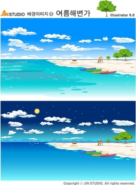 sea scene background sets day night theme colorful design