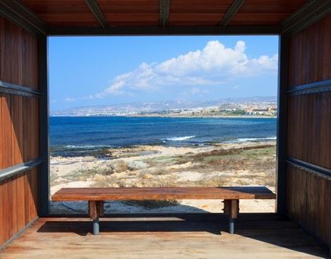 beach bench blue