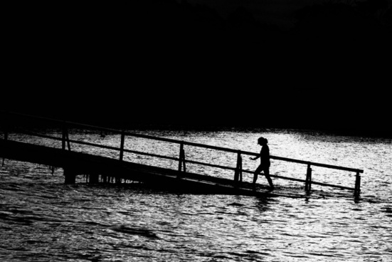 beach black and white boat bridge contrast dark dock