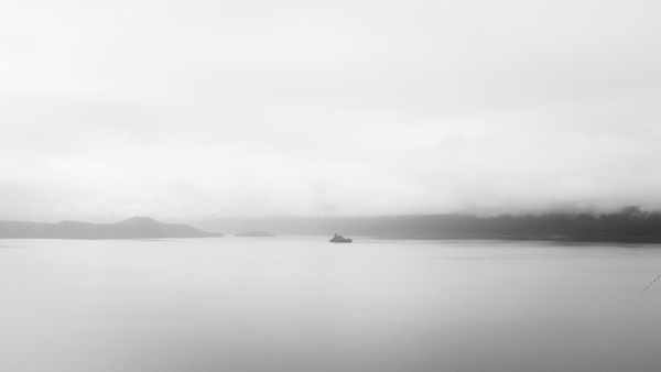 beach black and white boat coast fog lake landscape