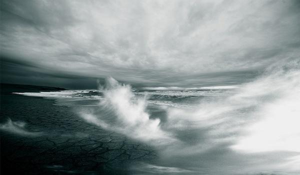 beach black and white cloud coast landscape mist