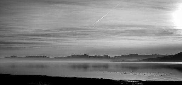 beach black and white cloud desert fog horizontal