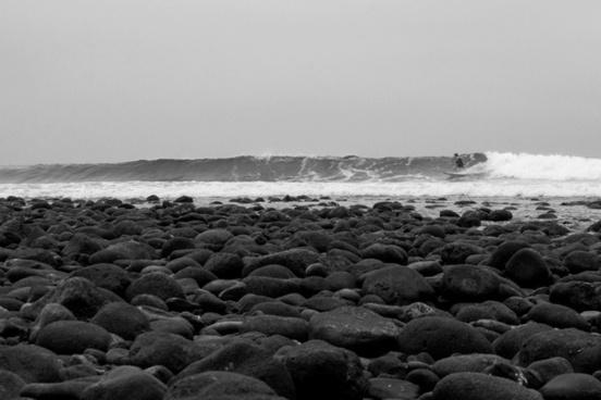 beach black and white coast dramatic evening