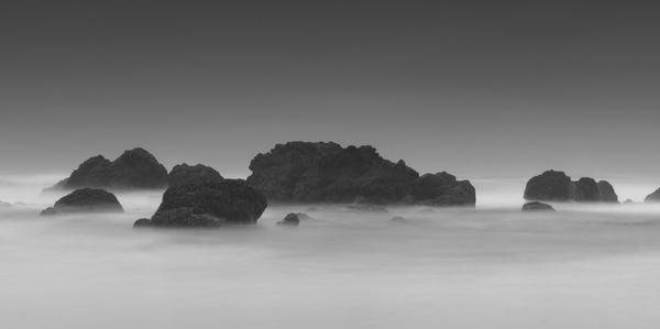 beach black and white coast exposure fog island