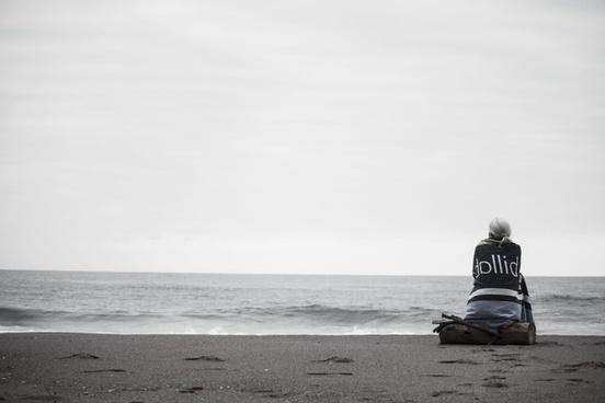 beach black and white coast fog horizon horizontal