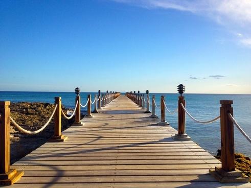 beach boardwalk chair coast holiday jetty landscape