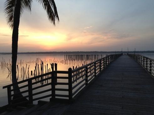 beach boardwalk coast dawn dock evening jetty