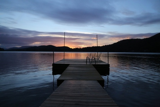 beach boat bridge calm dock dusk evening jetty