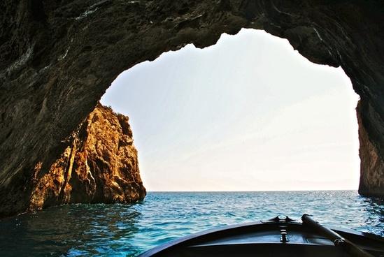beach boat cliffs coast holiday island landscape