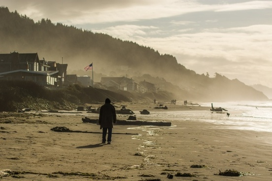 beach boat coast evening fisherman fog landscape