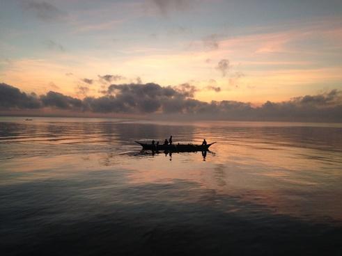 beach boat dawn dusk evening fisherman lake