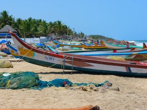 beach boats colorful