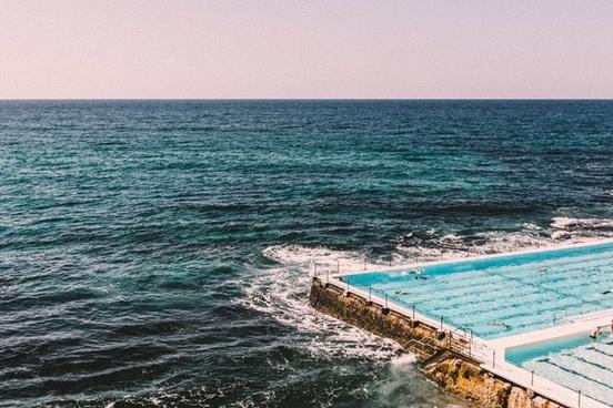 beach breakwater coast coastline holiday horizon