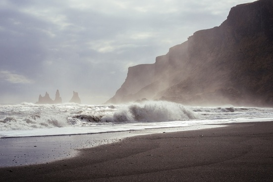 beach cliff landscape mist mountain ocean rock sand