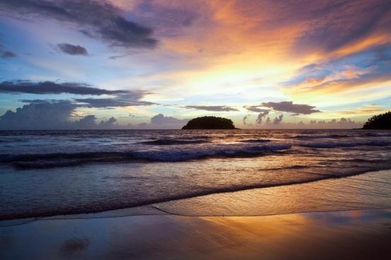 beach cloud coast dawn dusk evening landscape ocean