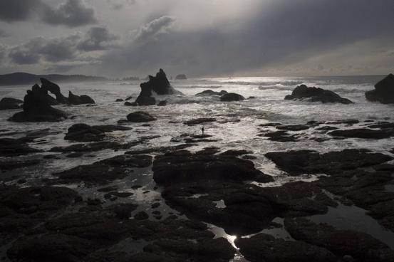 beach cloud coast dusk evening landscape moody