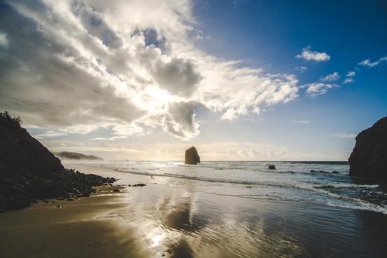 beach cloud coast dusk landscape nature ocean playa