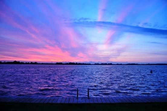 beach cloud dawn dusk evening lake landscape