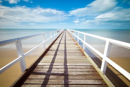 beach cloud deck dock holiday horizon line ocean