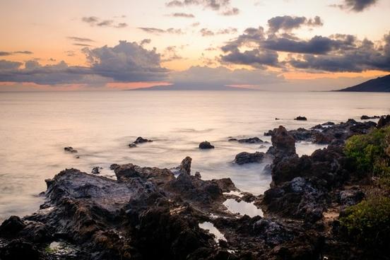 beach coast coastline dusk evening landscape nobody