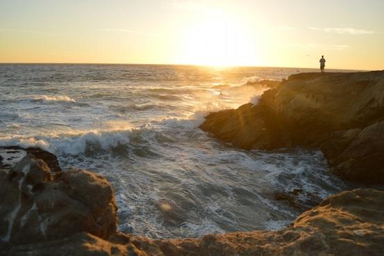 beach coast dawn evening landscape nobody ocean