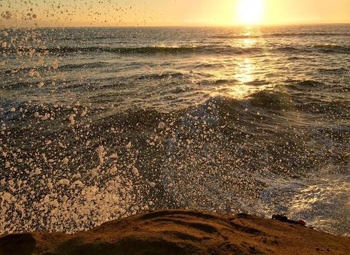 beach coast dusk evening landscape nobody ocean