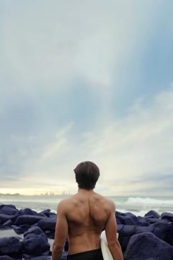 beach coast horizon light men nude ocean outdoors