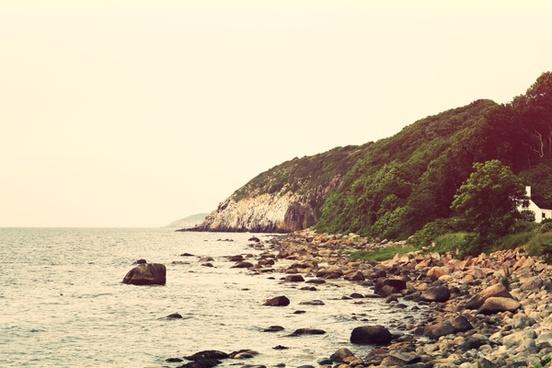 beach coast island landscape mountain nature ocean