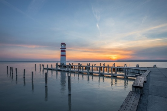 beach dawn dock dusk evening jetty lake light
