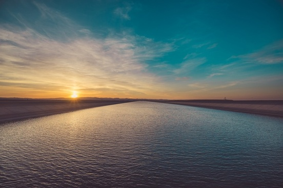 beach dawn dusk evening horizon lake landscape