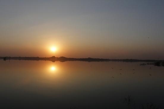 beach dawn dusk evening lake landscape moon morning