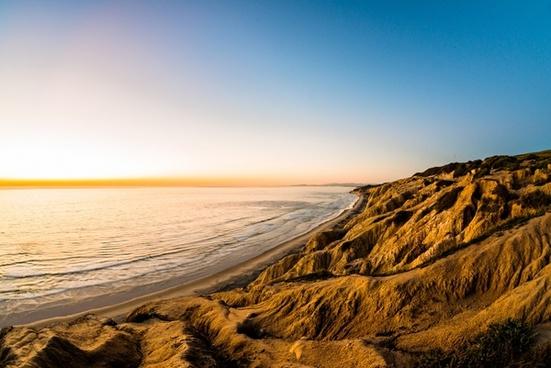 beach dawn evening gold golden landscape mer nature