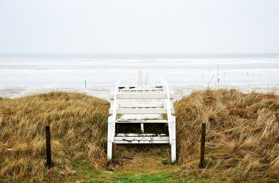 beach deck grass horizon ocean sea shore stair