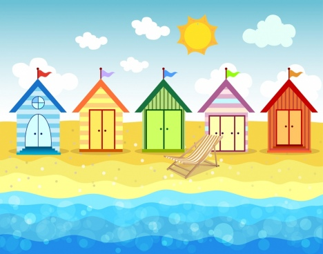 beach drawing colorful houses icon bokeh decor