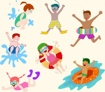 beach enjoy design elements joyful human icons