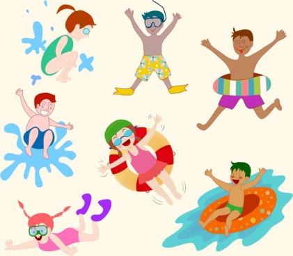 beach enjoy design elements joyful human icons