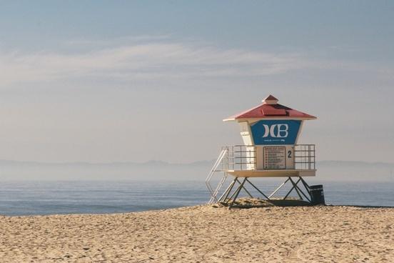 beach fog holiday hut mist ocean sand sea shore