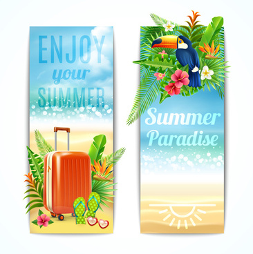 beach holiday summer banners vector