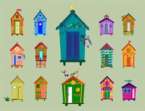 beach huts collection illustration in various colorful types