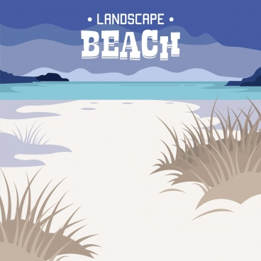 beach landscape background colored classical design