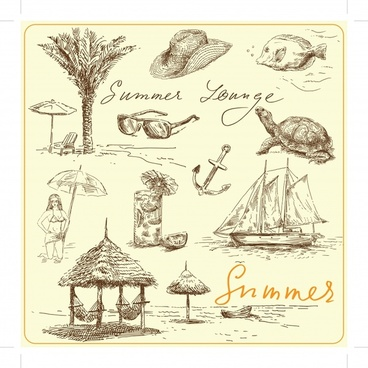 sea vacation design elements handdrawn symbols sketch