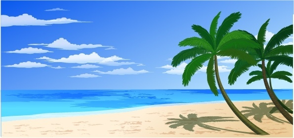 tropical beach background multicolored design coconut icons
