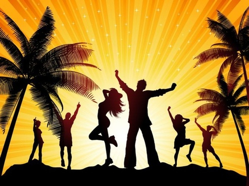 beach party background coconut people icons silhouette design
