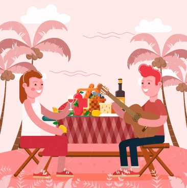 beach picnic drawing couple food icons cartoon design