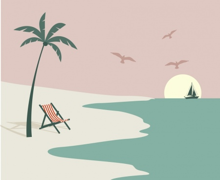 beach scene drawing colored classical decor cartoon design