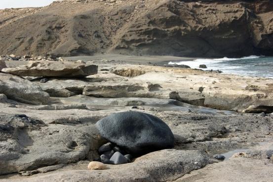 beach sea rock