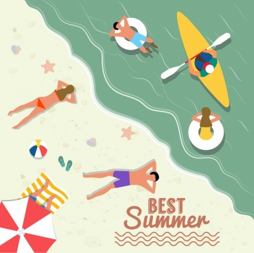 beach summer vacation banner colored cartoon higher view